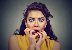 scared and shocked woman